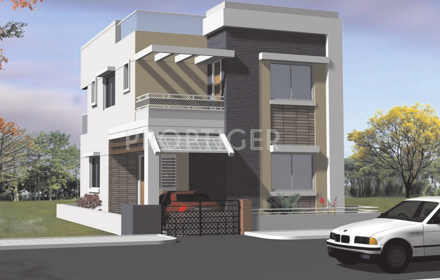 Main Elevation Vrr Constructions Duplex Houses