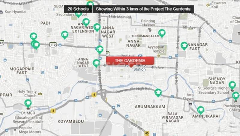 Image of Location Map of Ozone Group The Gardenia Anna Nagar