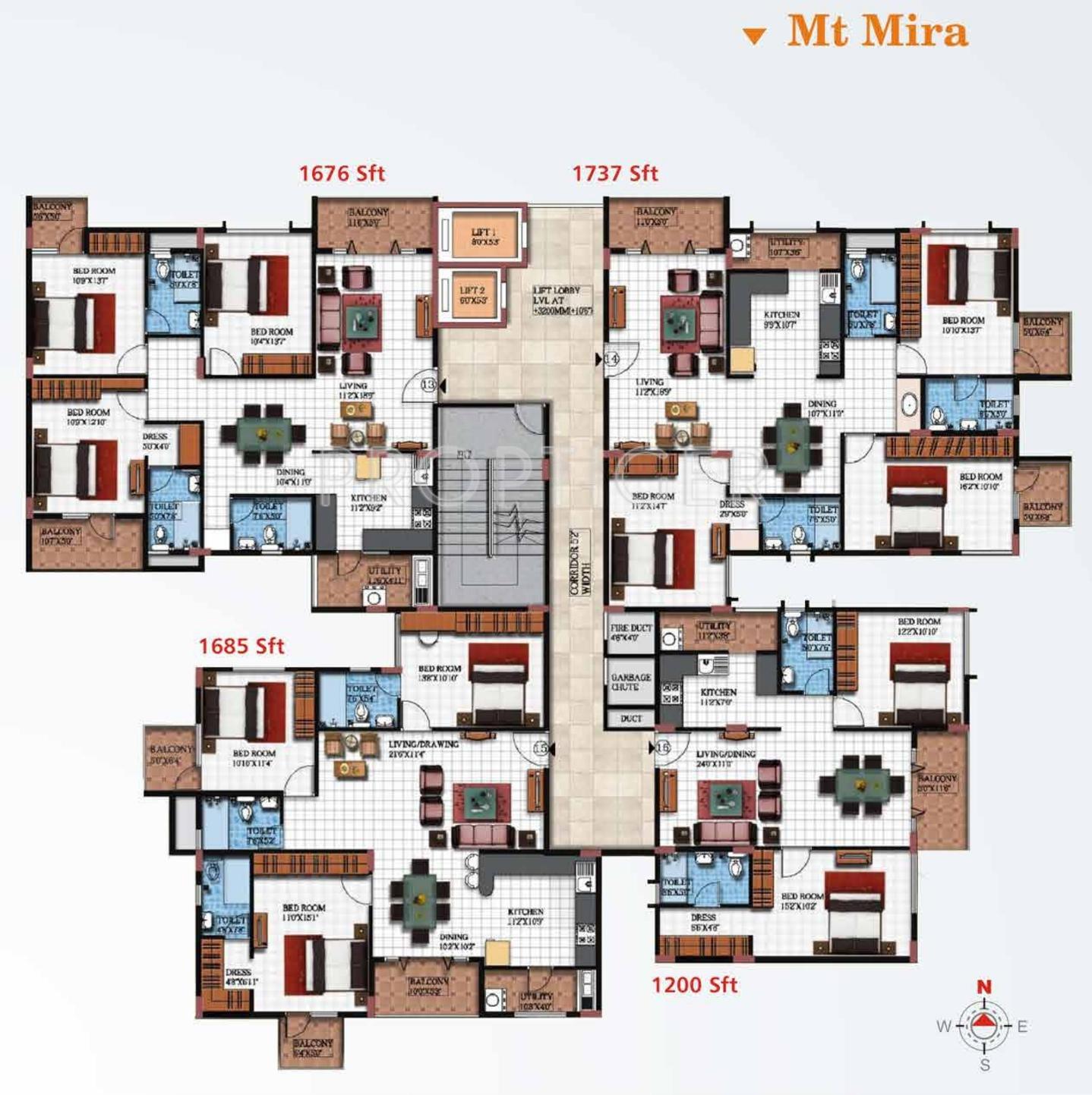 Sun Ridge Apartments: 1200 Sq Ft 2 BHK 2T Apartment For Sale In Vishnu Priya