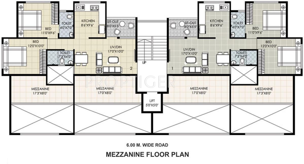Mezzanine Floor Elevation : Sq ft bhk t apartment for sale in gajra associates