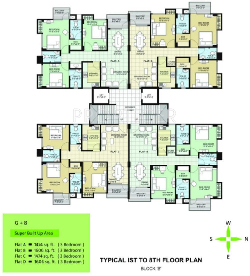 1908 sq ft 4 bhk 3t apartment for sale in uttarayan greens for Apartment cluster plans