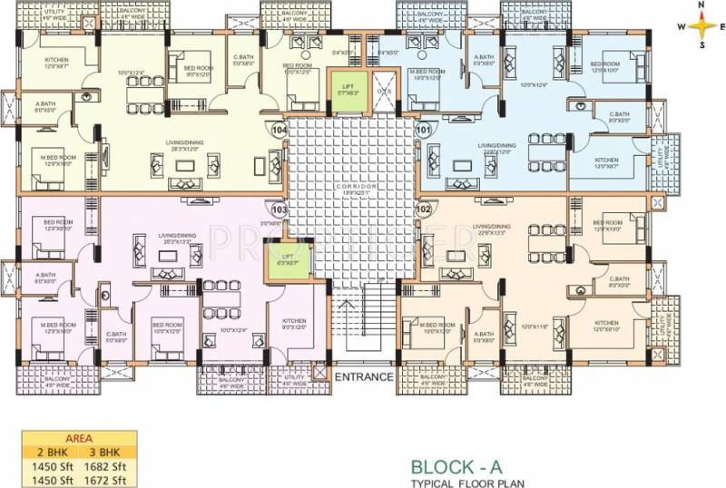 Rohan Corporation Daijiworld Residency Block-A Typical Cluster Plan
