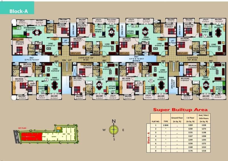 SLS Developers Silver Oak Block-A Typical Cluster Plan