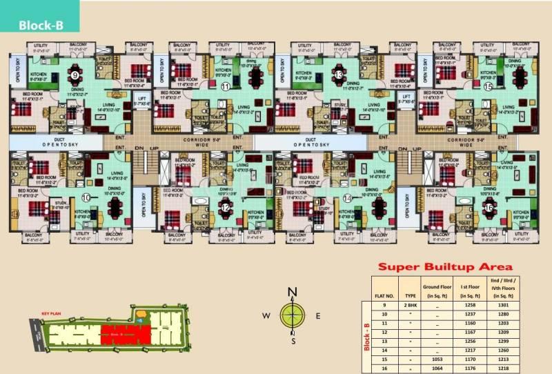 SLS Developers Silver Oak Block-B Typical Cluster Plan