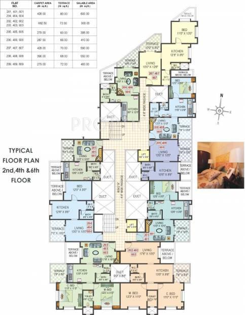 ACME Landmark Veronica Park Even Floor Cluster Plan