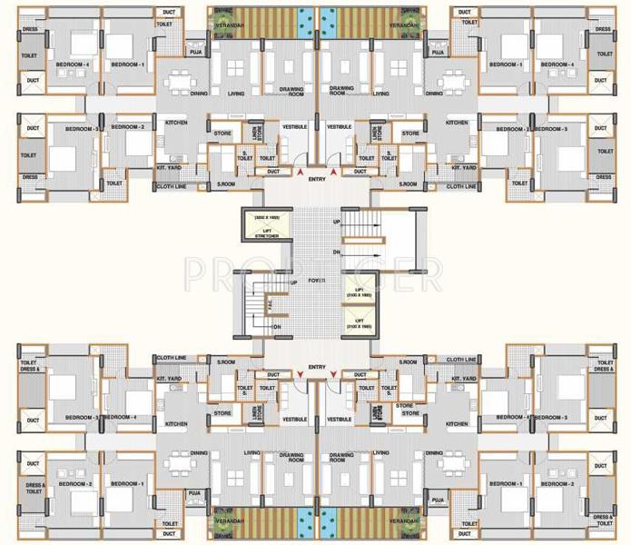 4 Bedroom Apartment Floor Plans: 690 Sq Ft 1 BHK 1T Apartment For Sale In Shri Gautam Real