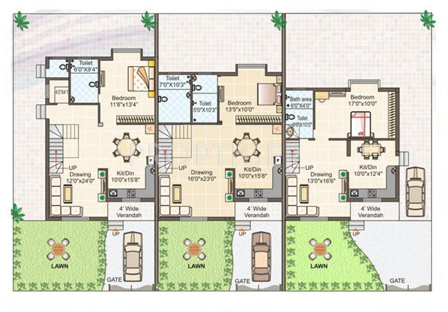 2000 sq ft 3 bhk 3t villa for sale in gangwani for Row house layout plan