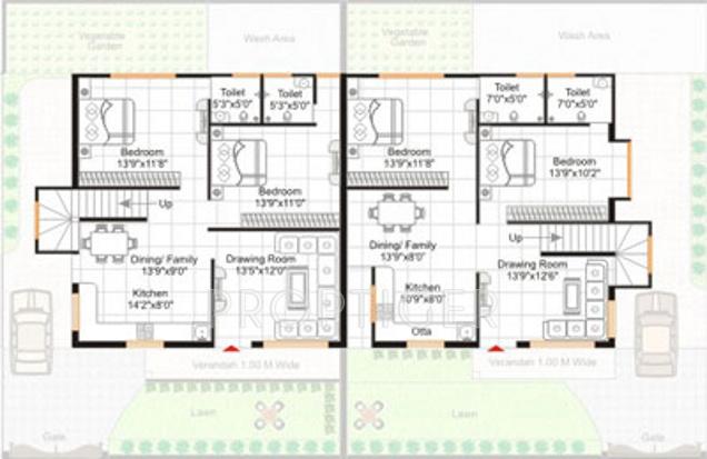 4 bhk cluster plan image gangwani constructions pvt ltd for Cluster house plans