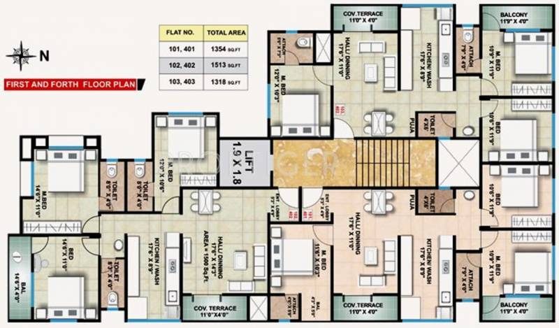 shree-ganesh-constructions avenue Avenue 1st and 4th Floor Cluster Plan