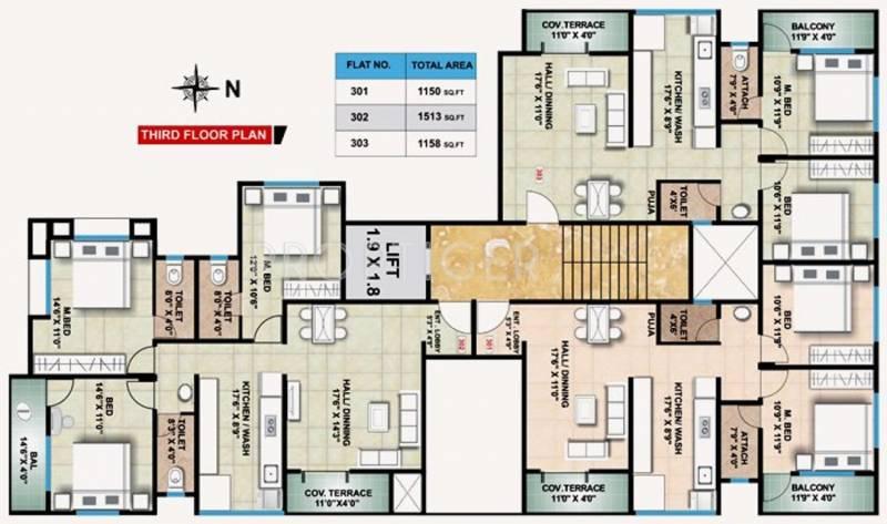 shree-ganesh-constructions avenue Avenue Cluster Plan for 3rd Floor