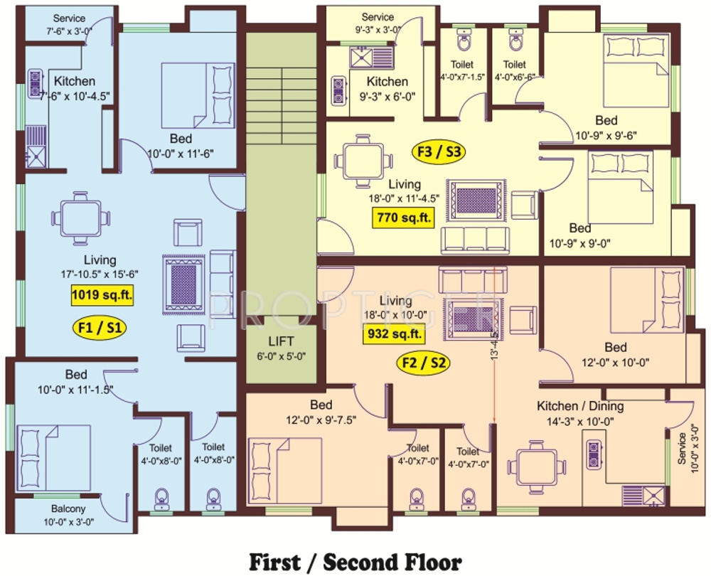 770 Sq Ft 2 Bhk 2t Apartment For Sale In Meridian Builders