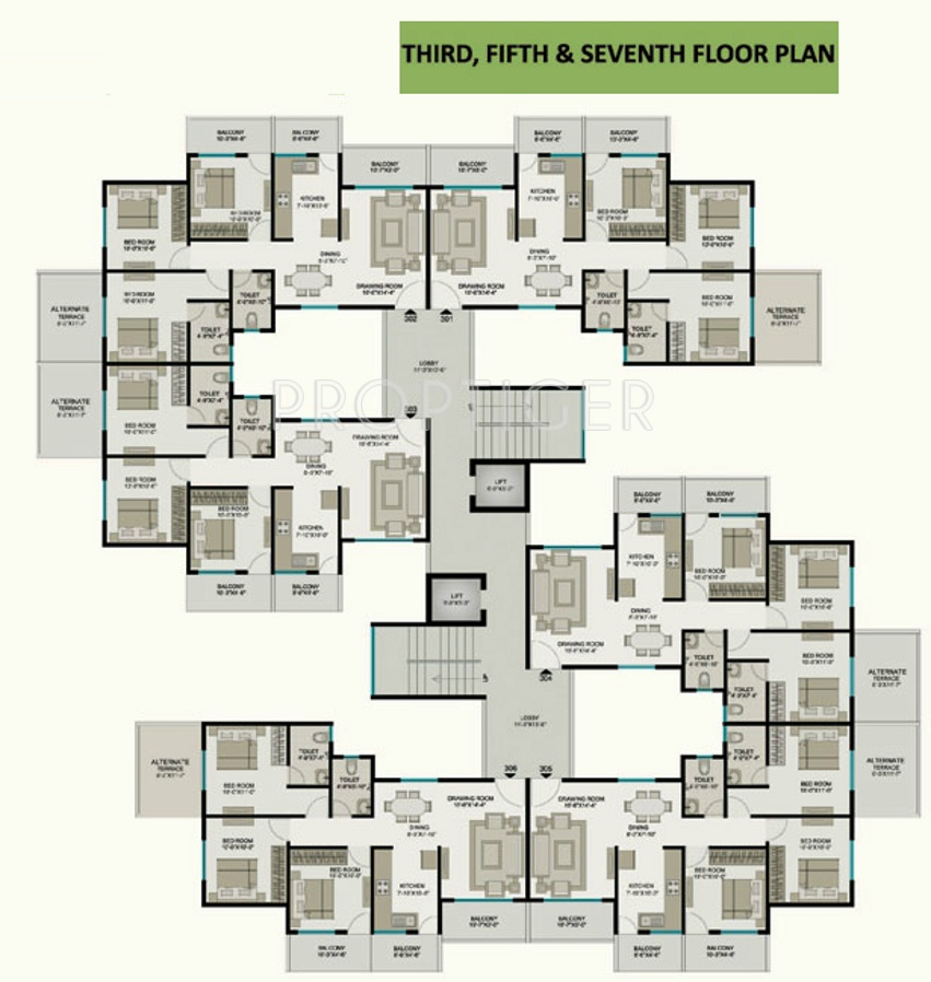 1240 sq ft 3 bhk 2t apartment for sale in pyramid group for Apartment cluster plans