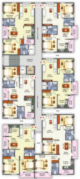 sree-malyadri-developer silver-oak  Silver Oak Cluster Plan from 1st to 4th Floor