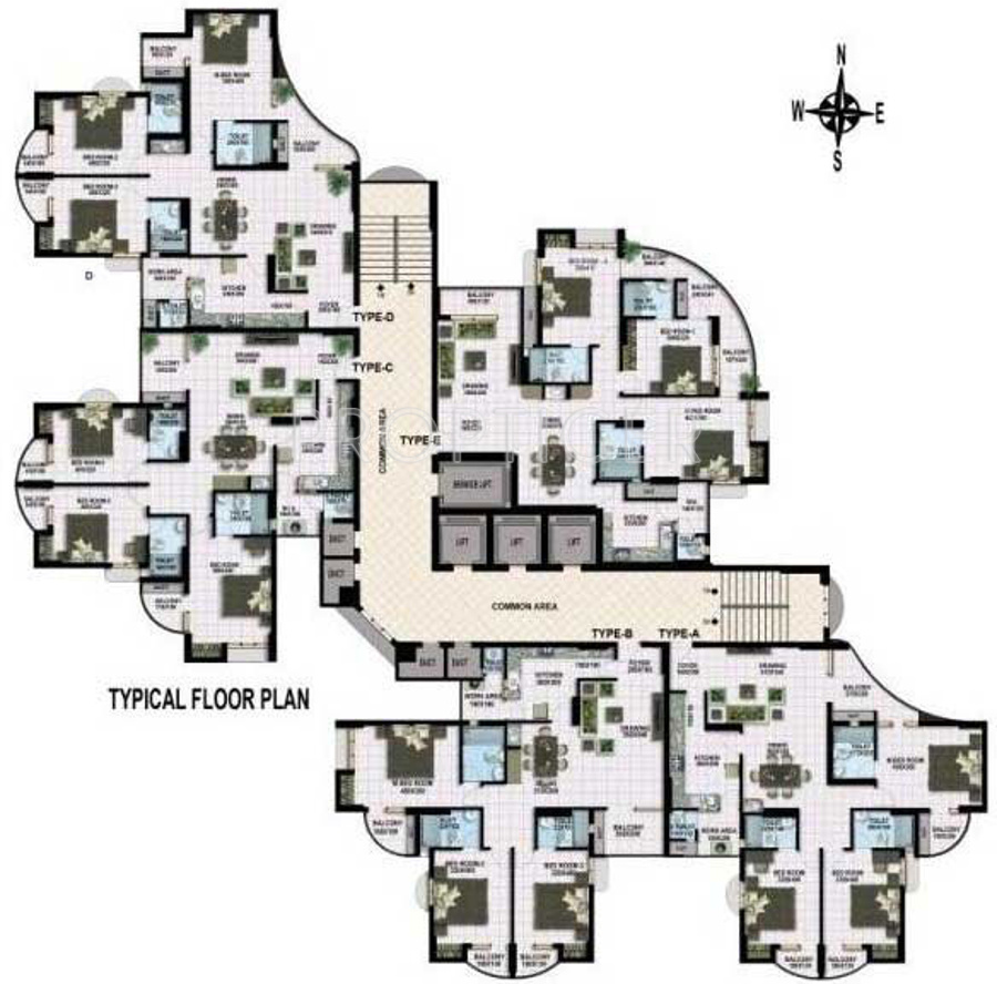 1850 sq ft 3 bhk 3t apartment for sale in mir realtors pvt for Floor plans for realtors
