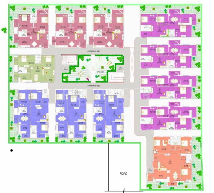 sri-kirhika-builders temple-view-apartment Single Tower Cluster Plan from 1st to 4th Floor