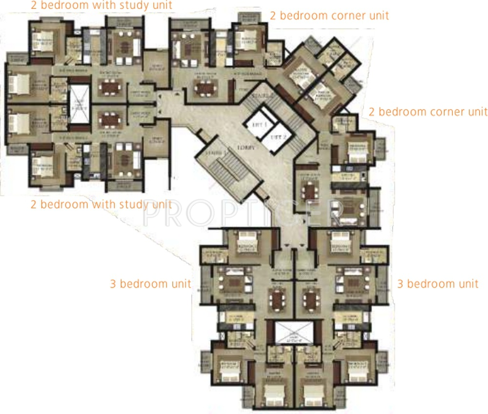 1450 sq ft 2 bhk 2t apartment for sale in shalimar garden for Backyard apartment floor plans