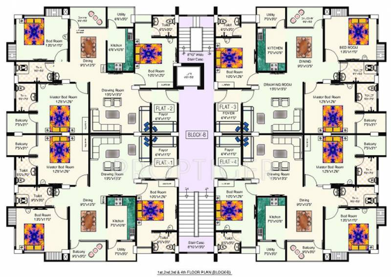 niagaree-builders galaxy-green Cluster Plan from 1st to 4th Floor