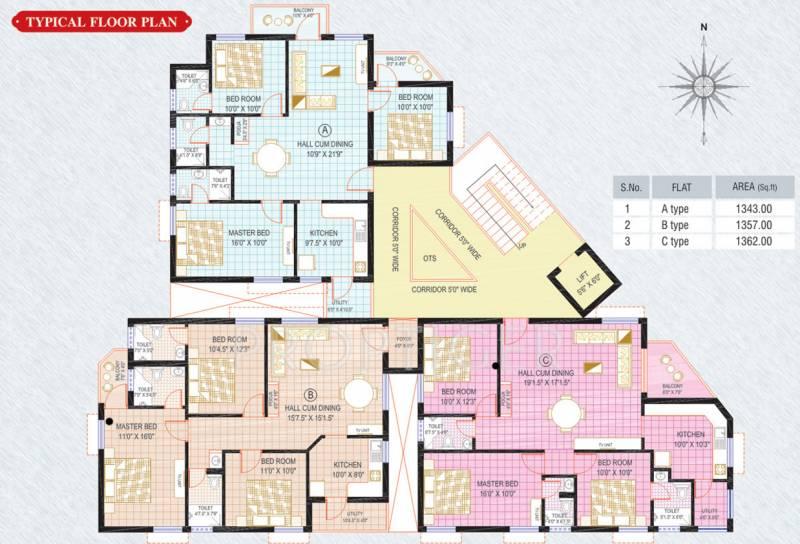 sri-kirhika-builders sunshine-apartment Single Tower Cluster Plan from 1st to 4th Floor
