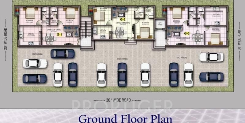 kj-homes angel-apartment Cluster Plan for ground Floor