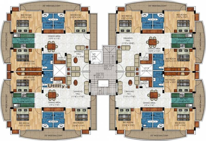 2 3 bhk cluster plan image sangam real estate and for Apartment building plans 2 units