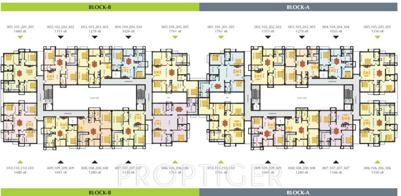 1278 sq ft 2 bhk 2t apartment for sale in sreevatsa real for Apartment block plans