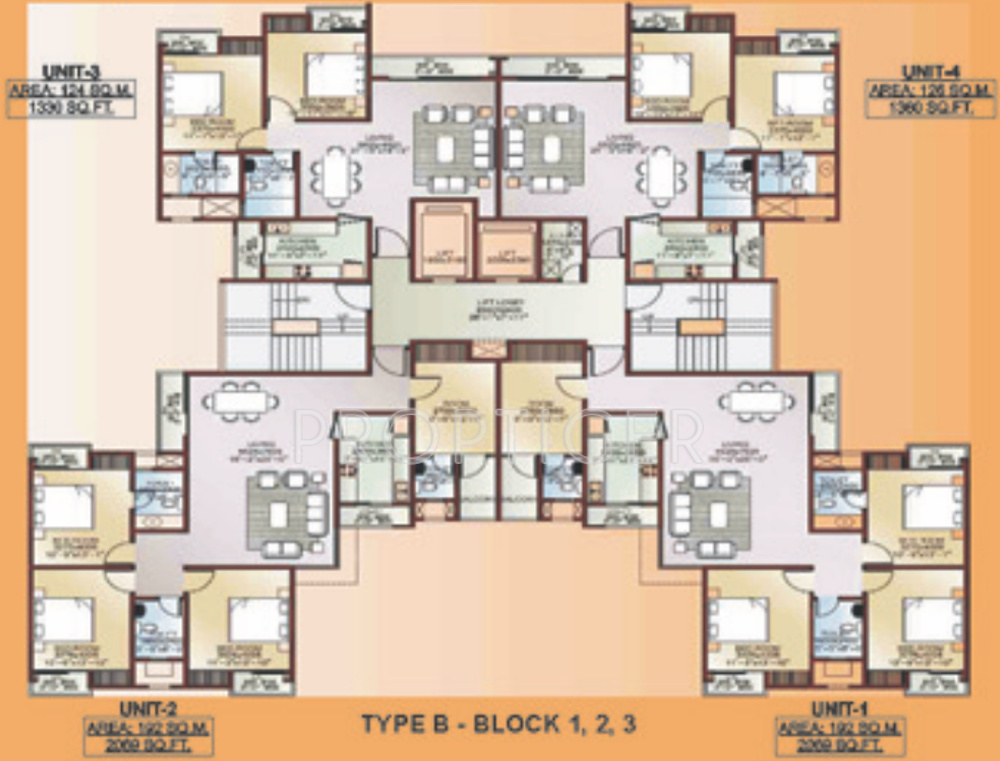 2069 sq ft 3 bhk 3t apartment for sale in ansal api for Apartment cluster plans
