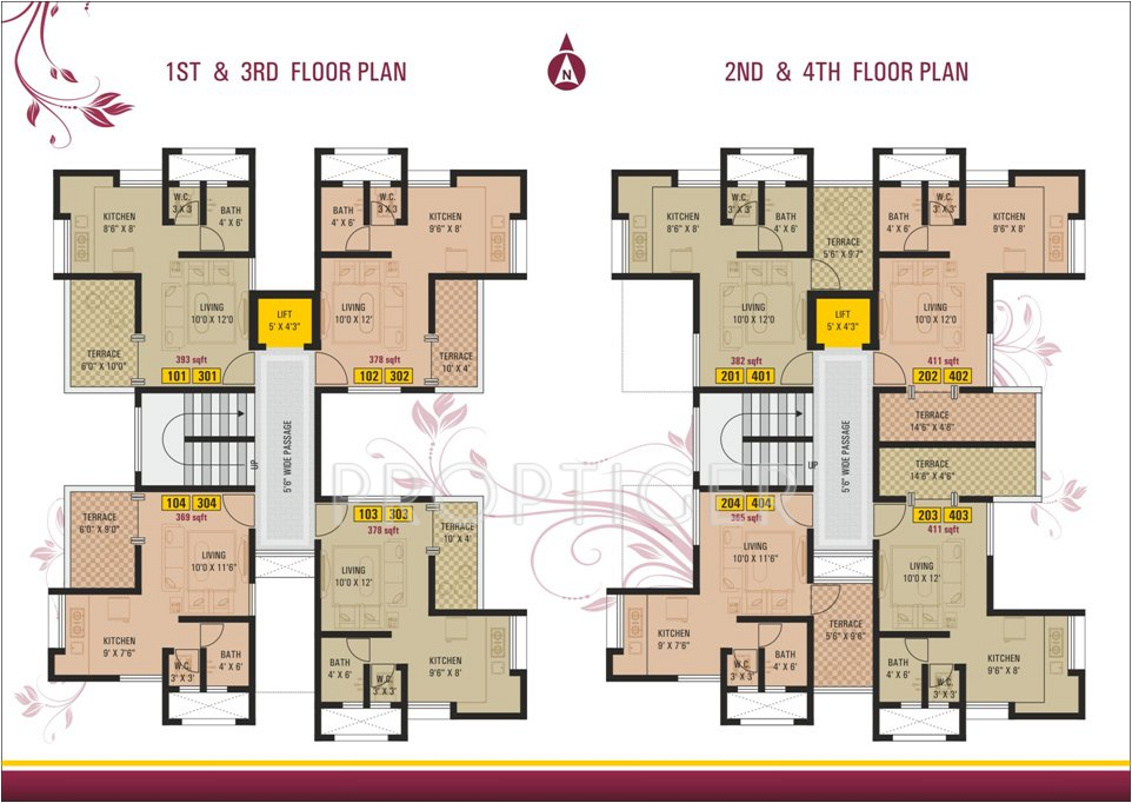 393 sq ft 1 bhk 1t apartment for sale in vrindavan for Floor plans for realtors
