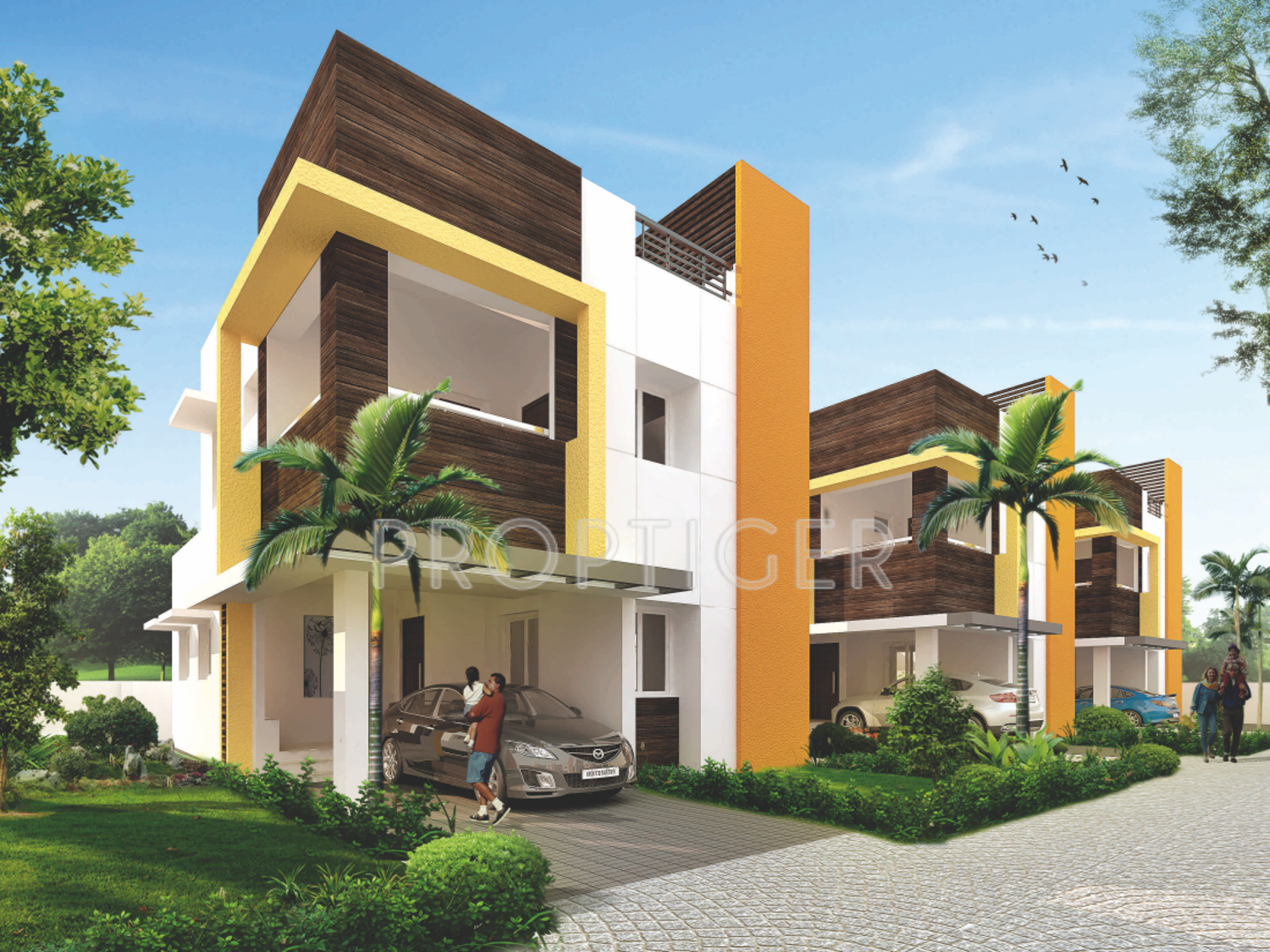 1661 sq ft 3 bhk 4t villa for sale in advaitaa homes for Villa elevation photos