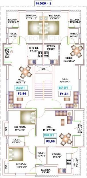 yogi-builders merinaa Block 3 Cluster Plan from 1st to 2nd Floor