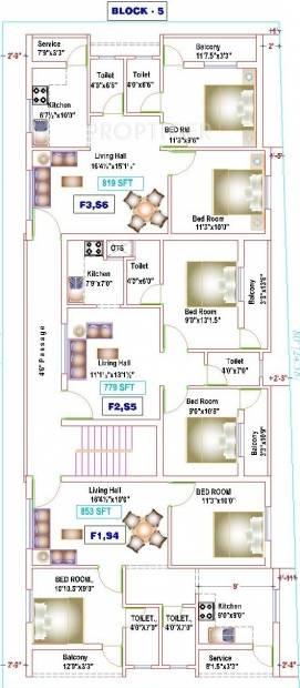 yogi-builders merinaa Block 5 Cluster Plan from 1st to 2nd Floor