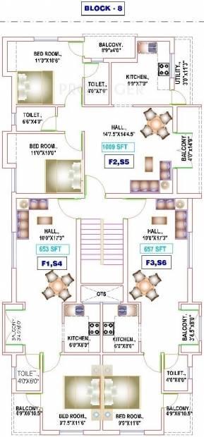 yogi-builders merinaa Block 8 Cluster Plan from 1st to 2nd Floor