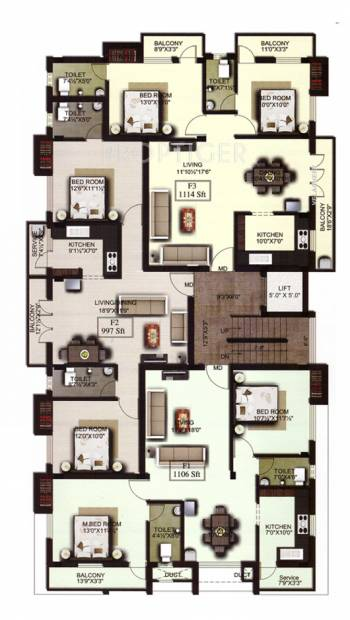 amraa-properties grandeur Amraa's Grandeur Cluster Plan from 1st to 2nd Floor