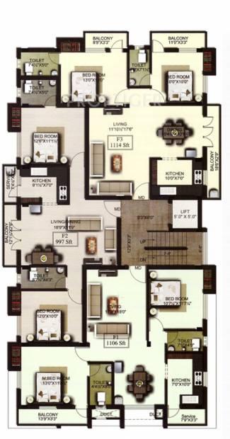 amraa-properties grandeur Pasha's Grandeur Cluster Plan from 1st to 2nd Floor