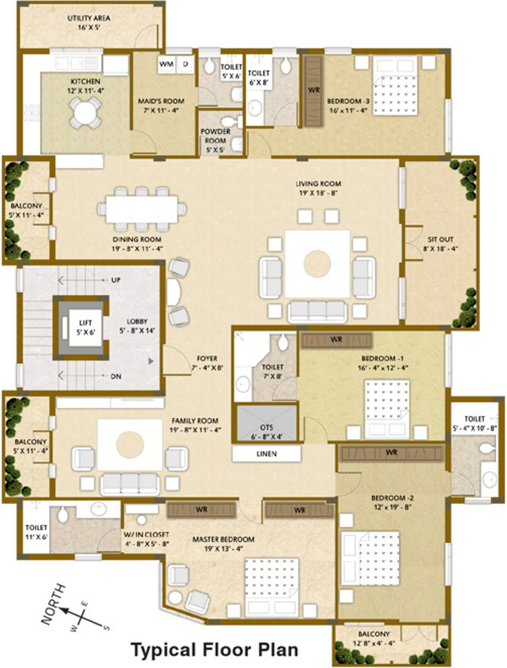 3650 Sq Ft 4 Bhk 5t Apartment For Sale In Whitespring
