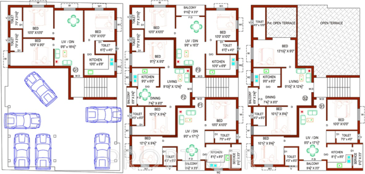 758 sq ft 2 bhk 2t apartment for sale in perfect builders for Builder s pride flooring