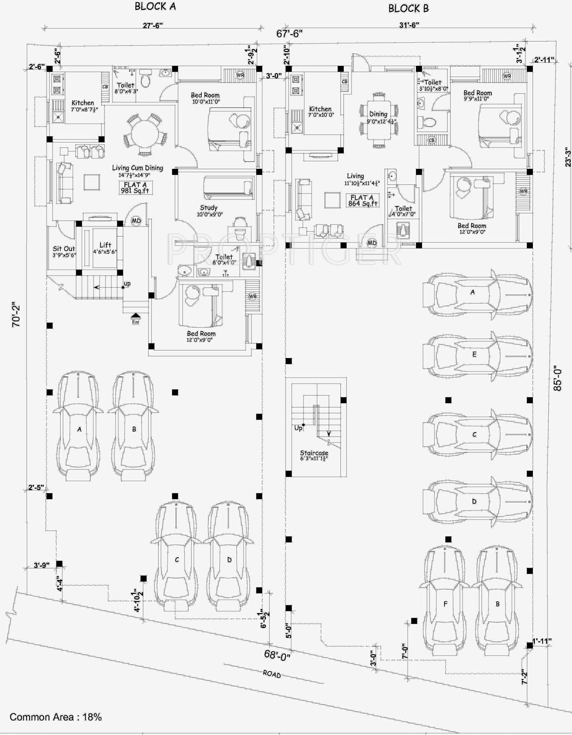 2 3 Bhk Cluster Plan Image