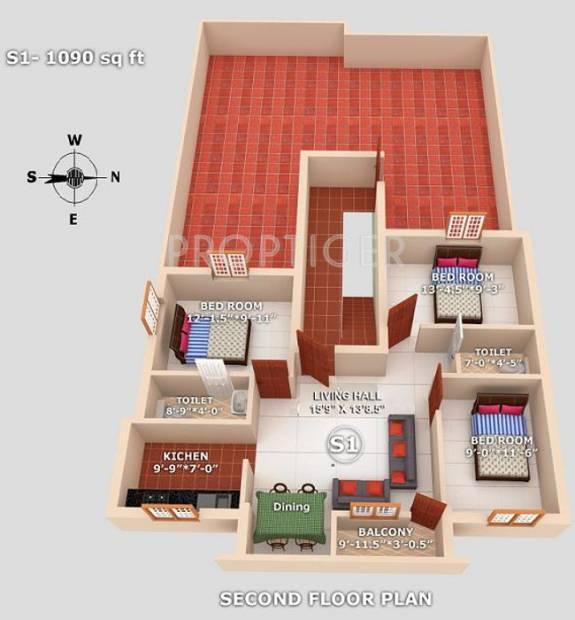 geejay-homes sunrise Sunrise  Cluster Plan for 2nd Floor