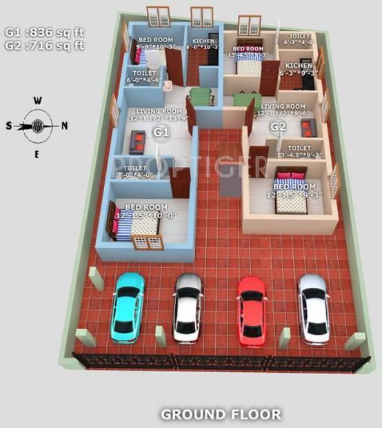 geejay-homes sunrise Sunrise  Cluster Plan for ground Floor