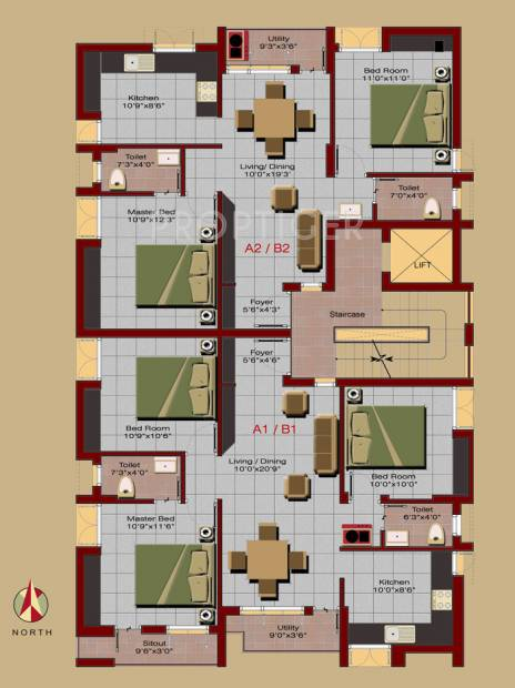 kay-ram-builders jaichand Jaichand Cluster Plan for 1st Floor