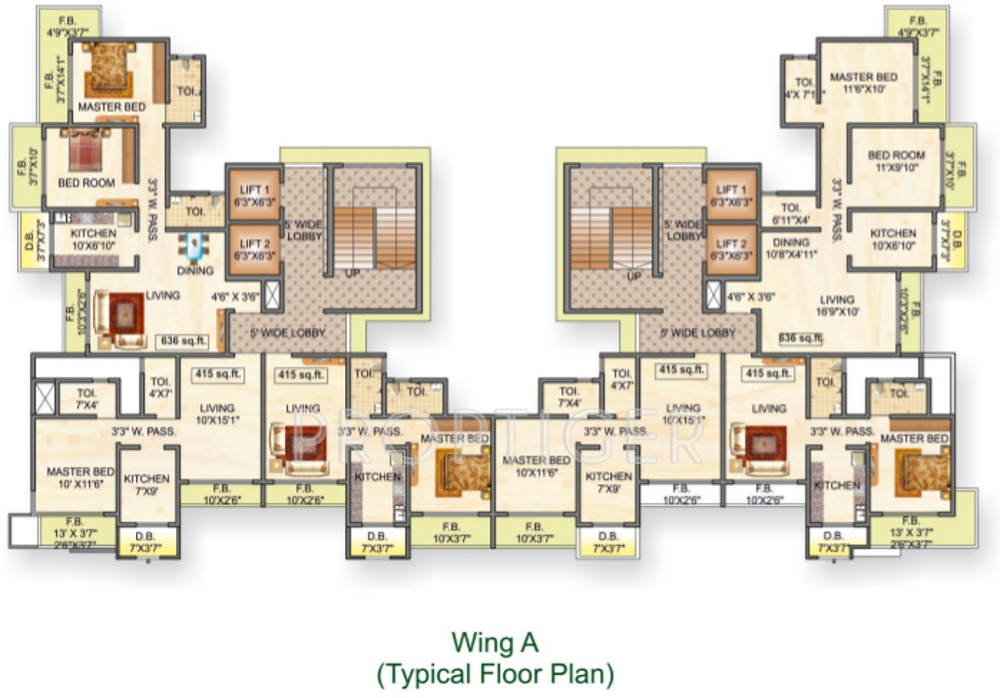 1150 sq ft 2 bhk 2t apartment for sale in avirahi homes for Cluster house plans