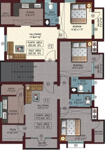 1 2 bhk cluster plan image sri sapthagiri developers for Apartment cluster plans