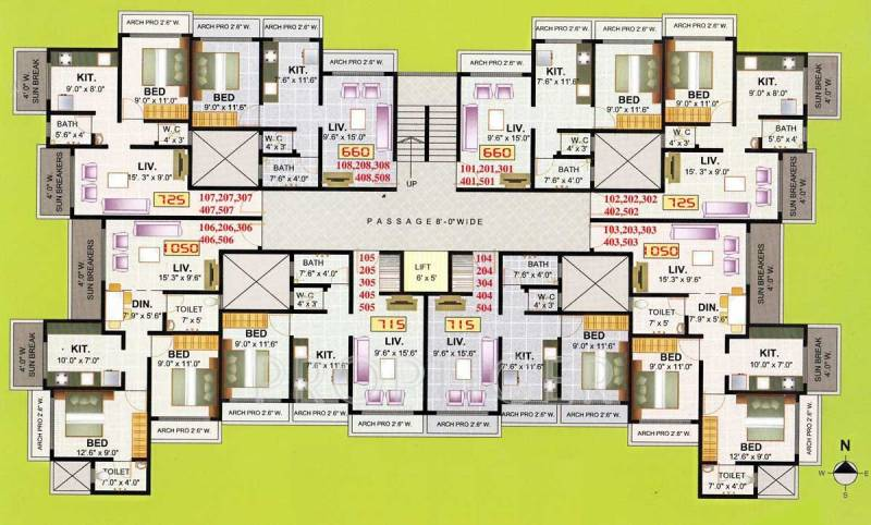 shabri-heights Wing A Cluster Plan from 1st to 7th Floor