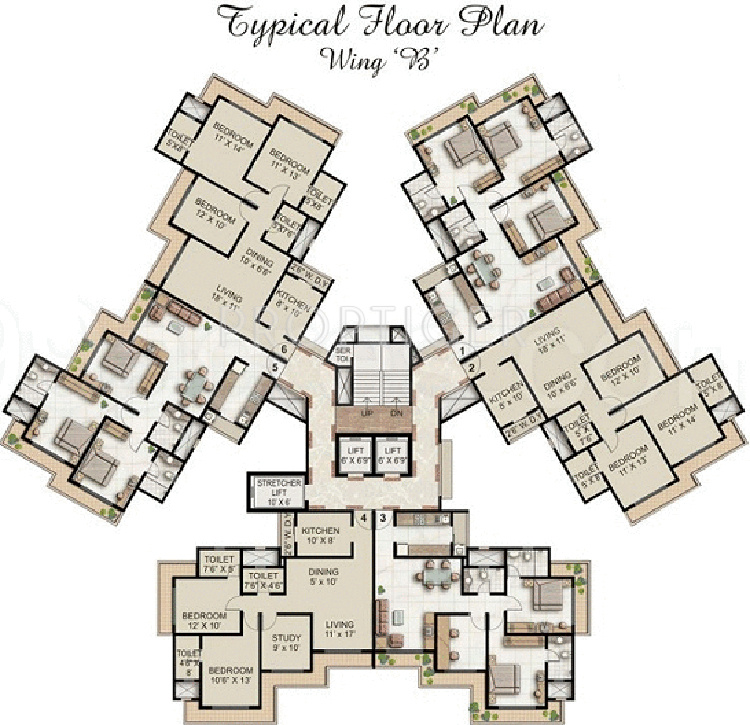 1740 sq ft 3 bhk 3t apartment for sale in supreme for Cluster house plans