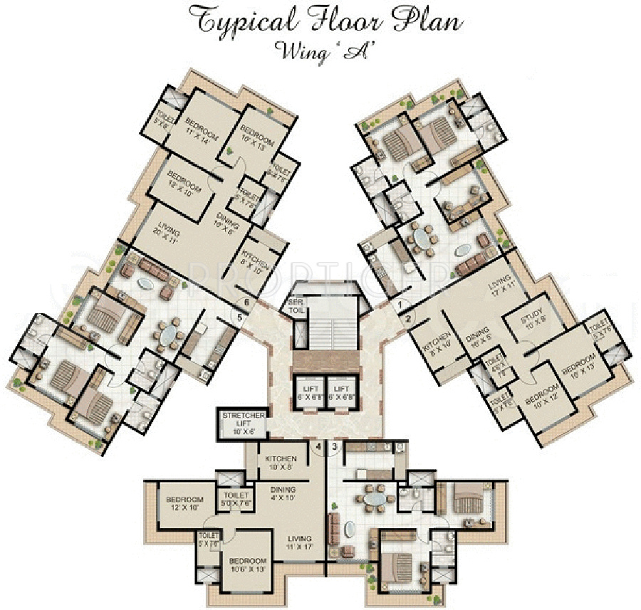 Supreme lake homes in powai mumbai price location map for Cluster house floor plan