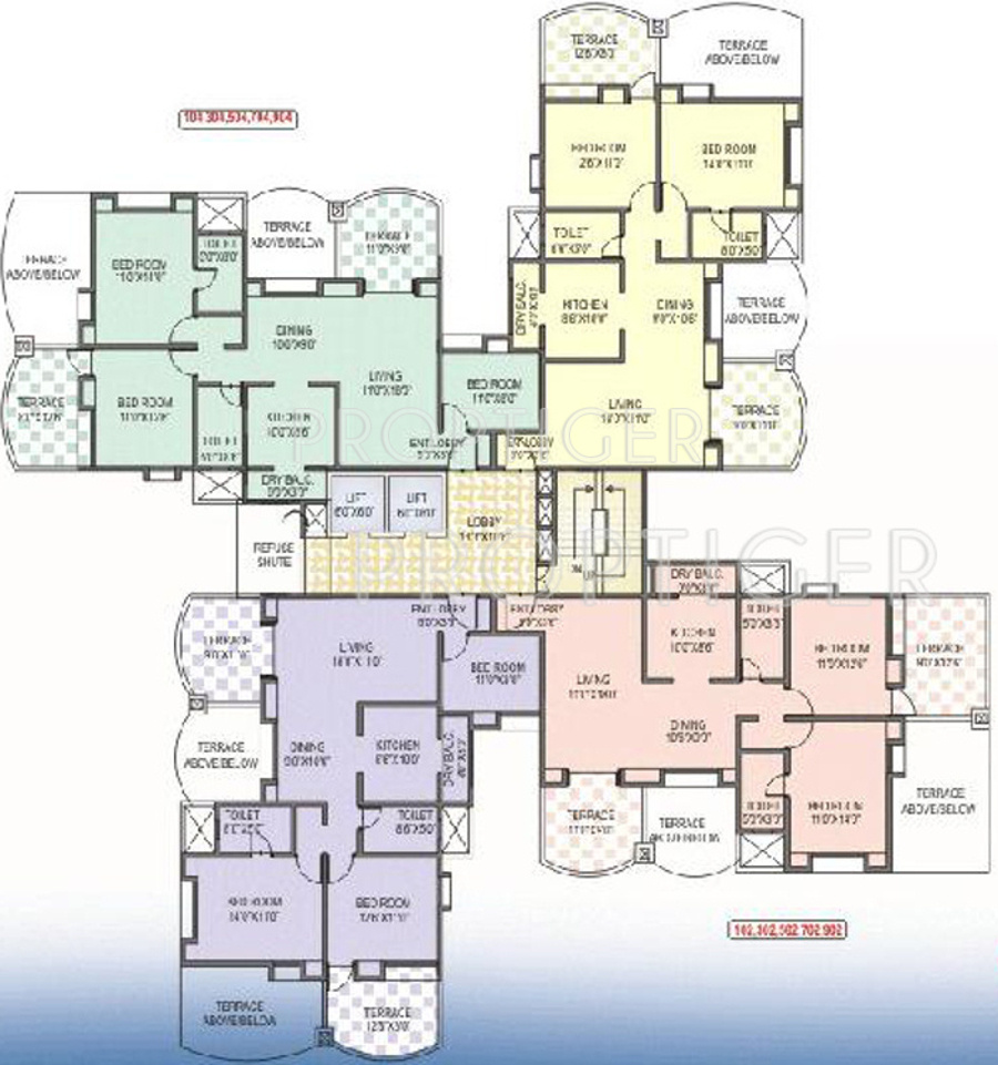 1429 sq ft 2 bhk 2t apartment for sale in kunal regulus for Apartment floor plans for sale