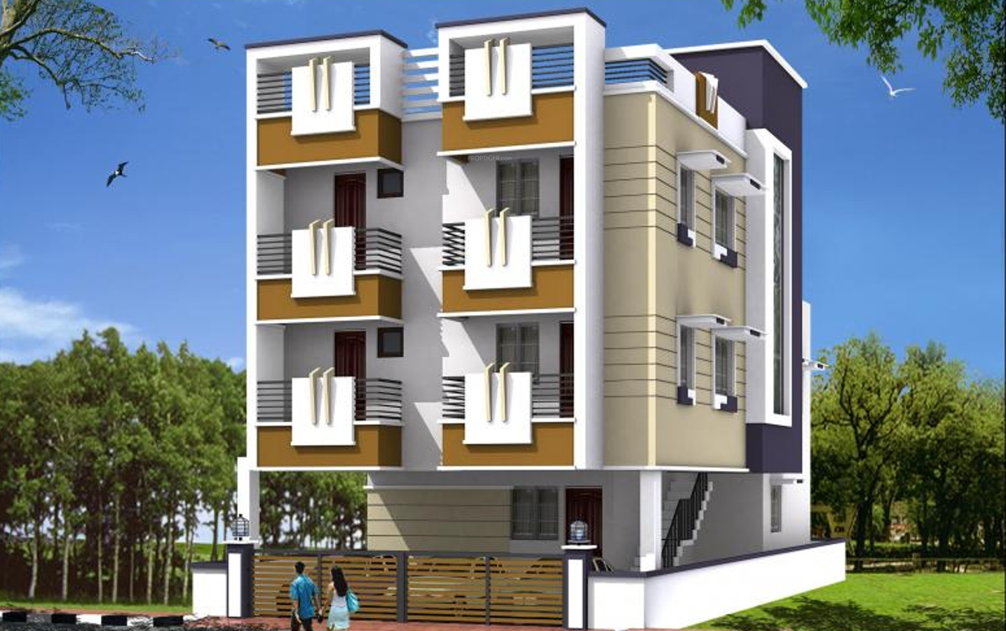 Front Elevation Parapet Wall : Main elevation image of ak constructions aaji maple unit