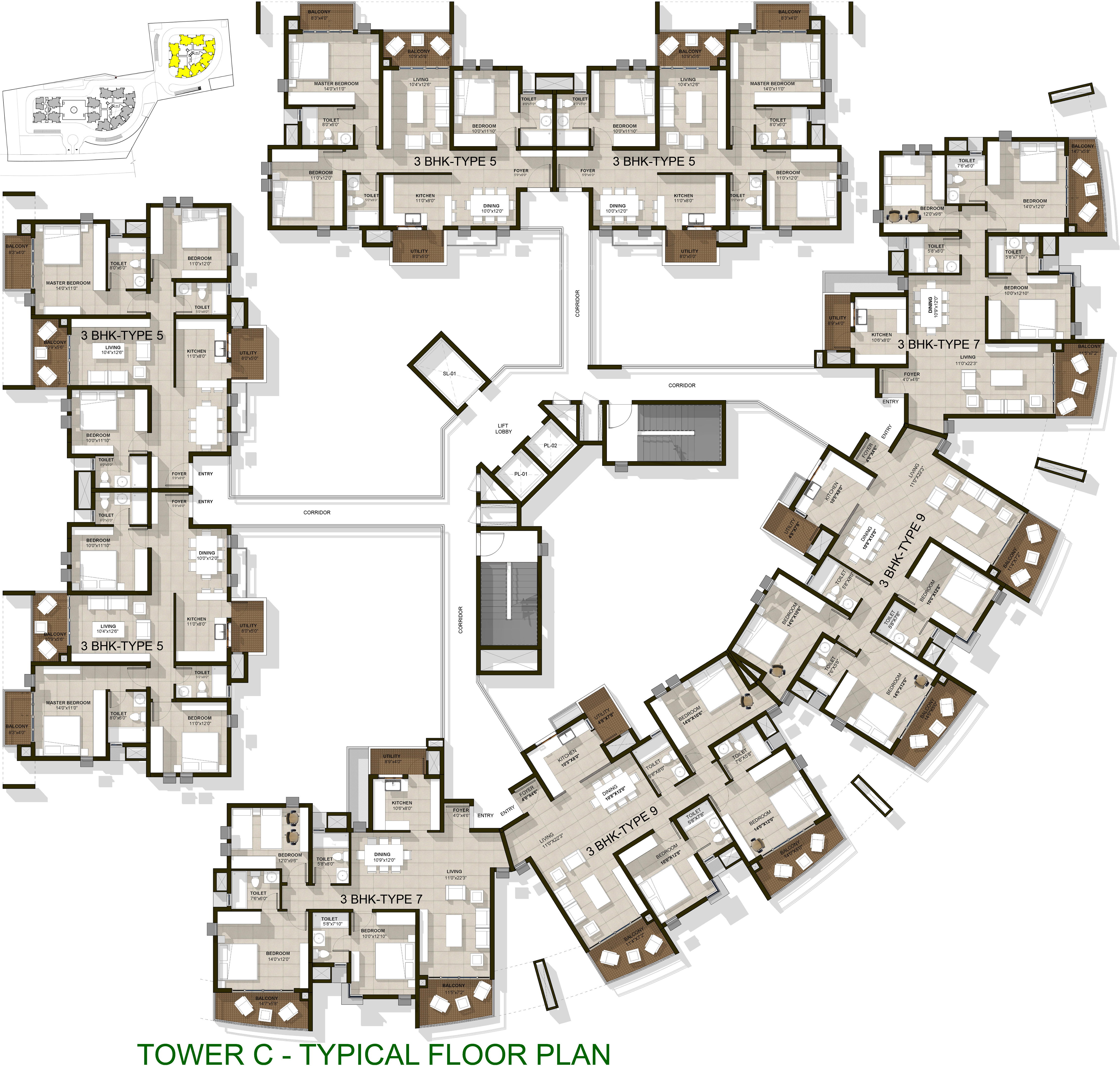 1640 sq ft 3 bhk 3t apartment for sale in ardente pine for Apartment cluster plans