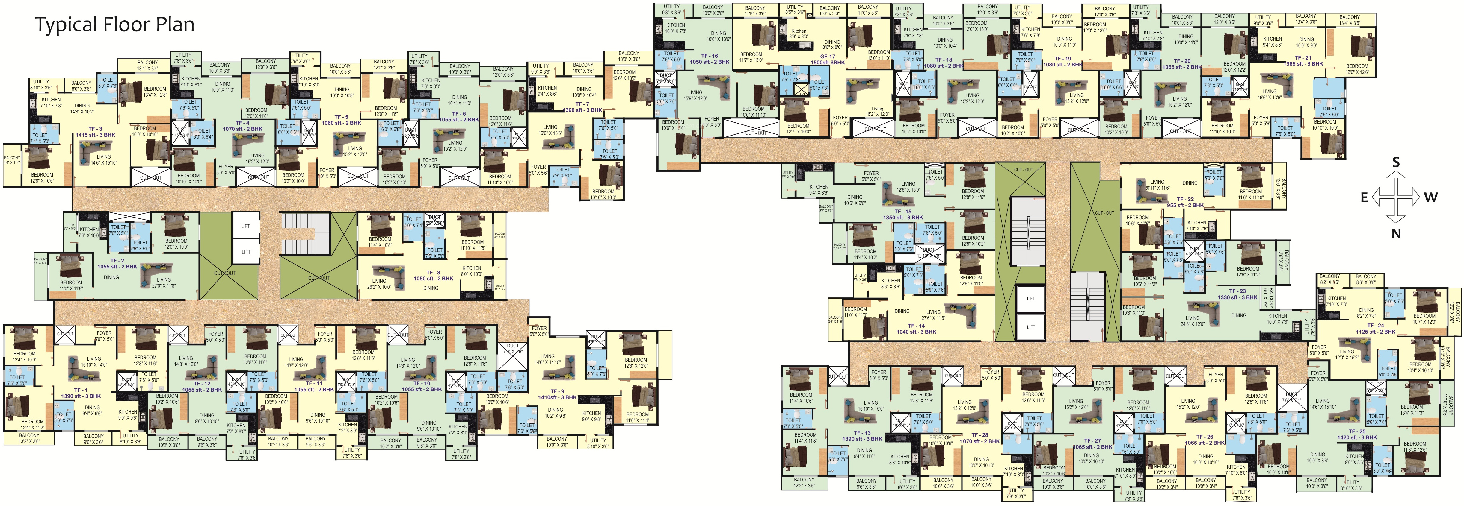 Trillium Floor Plan 1415 Sq Ft 3 Bhk 2t Apartment For Sale In S And S Builders