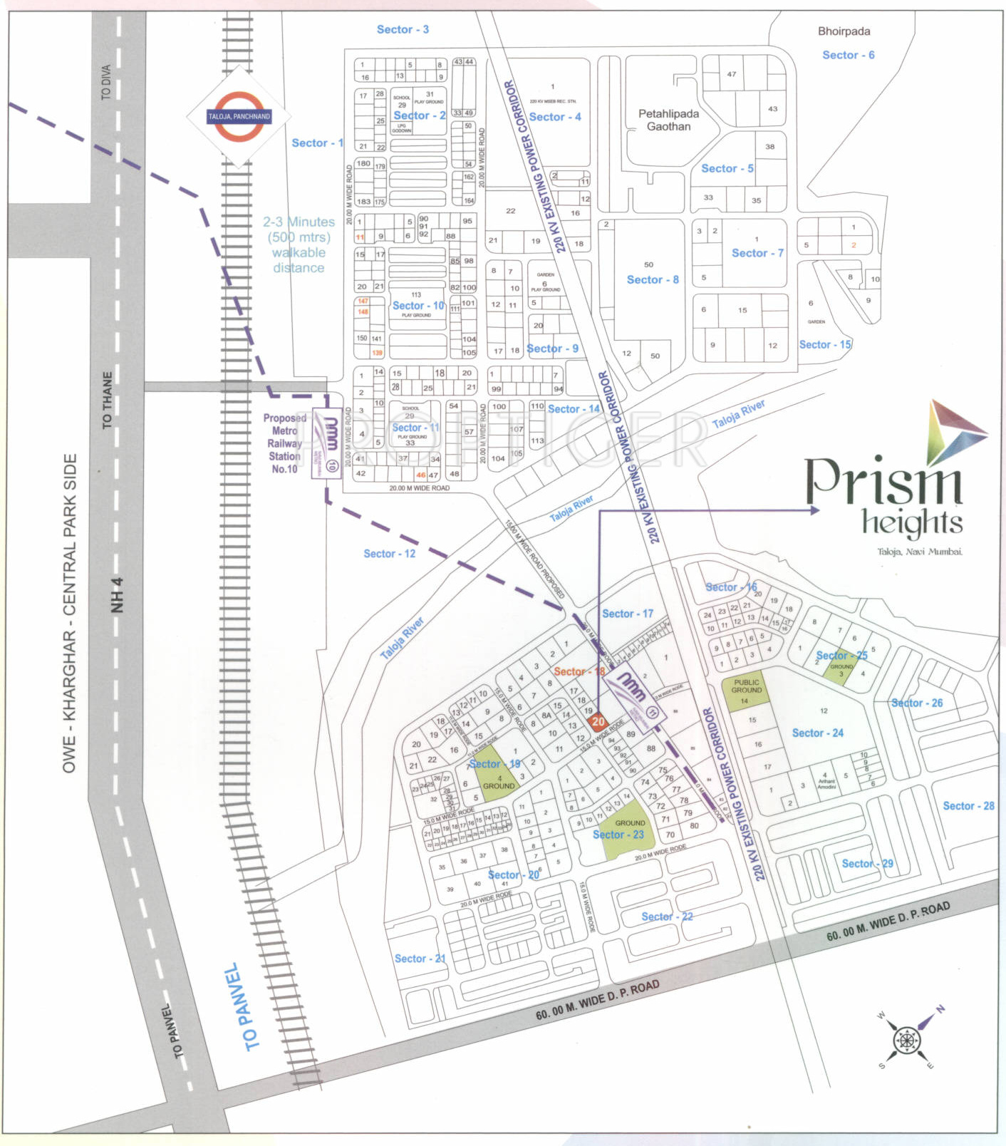 Plan And Elevation Of Prism : Prism heights in taloja mumbai price location map