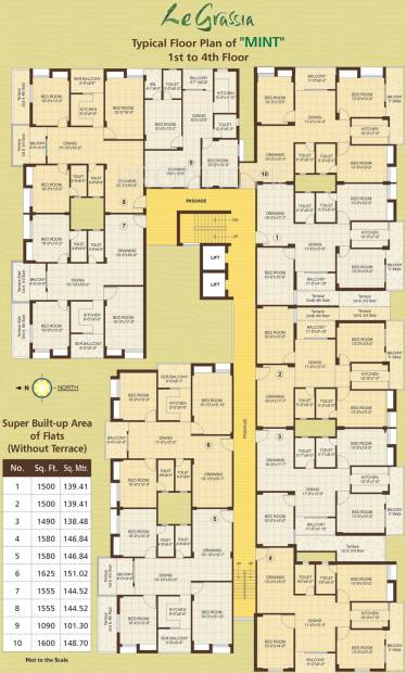 vasundhara-group le-grassia Le Grassia Mint Cluster Plan from 1st to 4th Floor